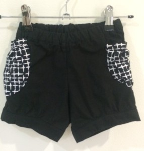 Black gathered pocket shorts